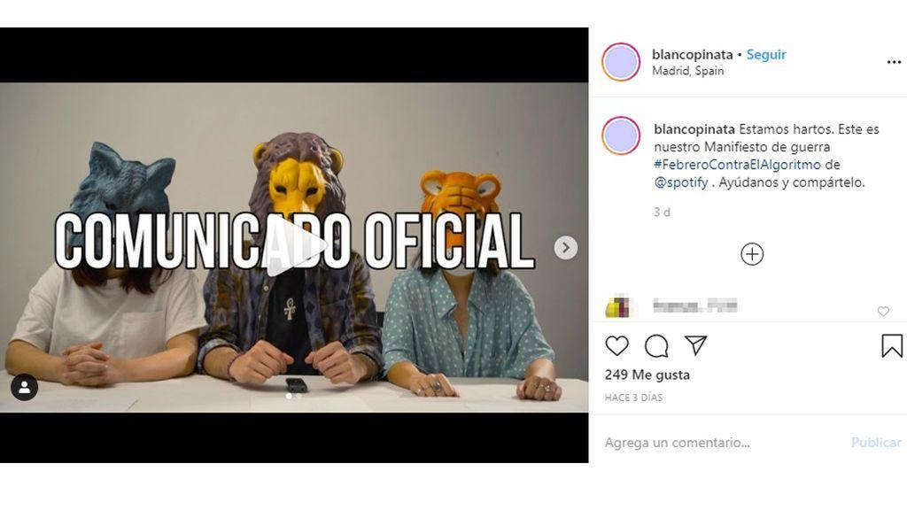 Vídeo del comunicado del grupo 'Blanco Piñata'
