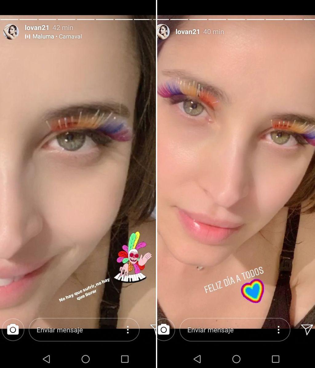 Lorena Van Heerde con sus pestañas multicolor