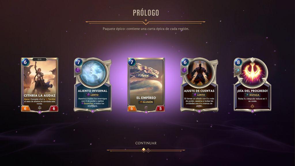 Paquete cartas épico