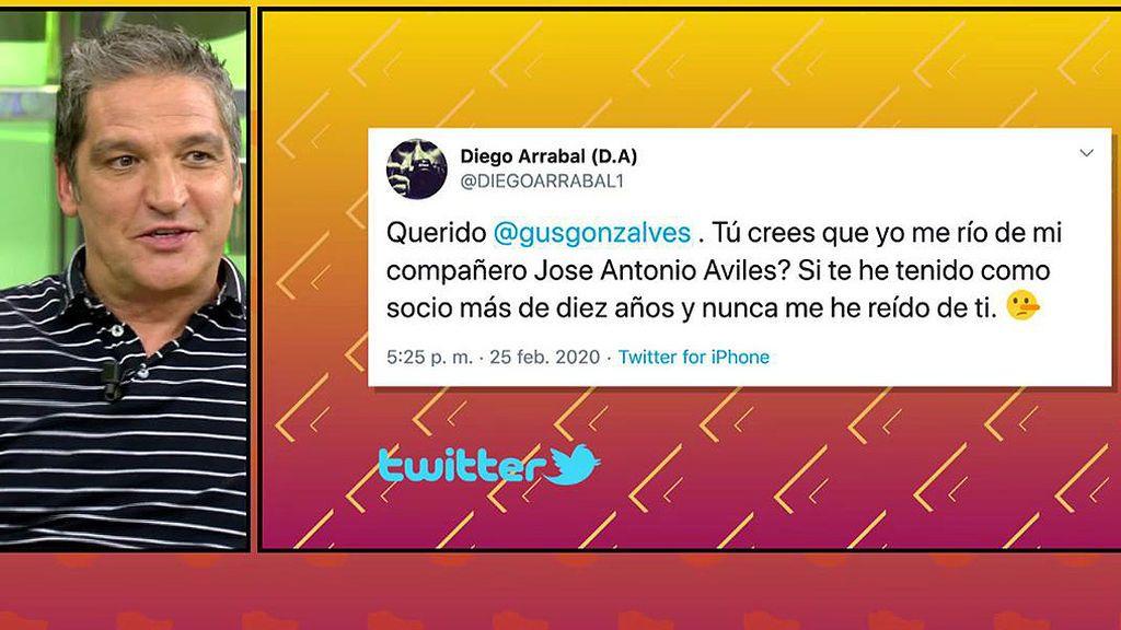 """Diego Arrabal le dedica un tuit """"cariñoso"""" a Gustavo González y el colaborador se lo toma con humor"""