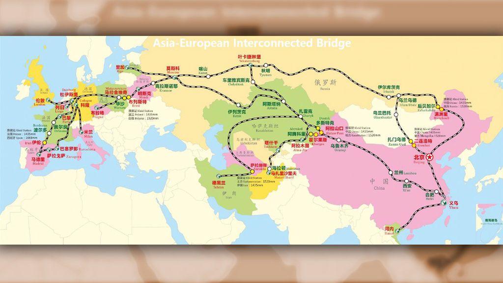 Mapa de las rutas ferroviarias de Yixinou
