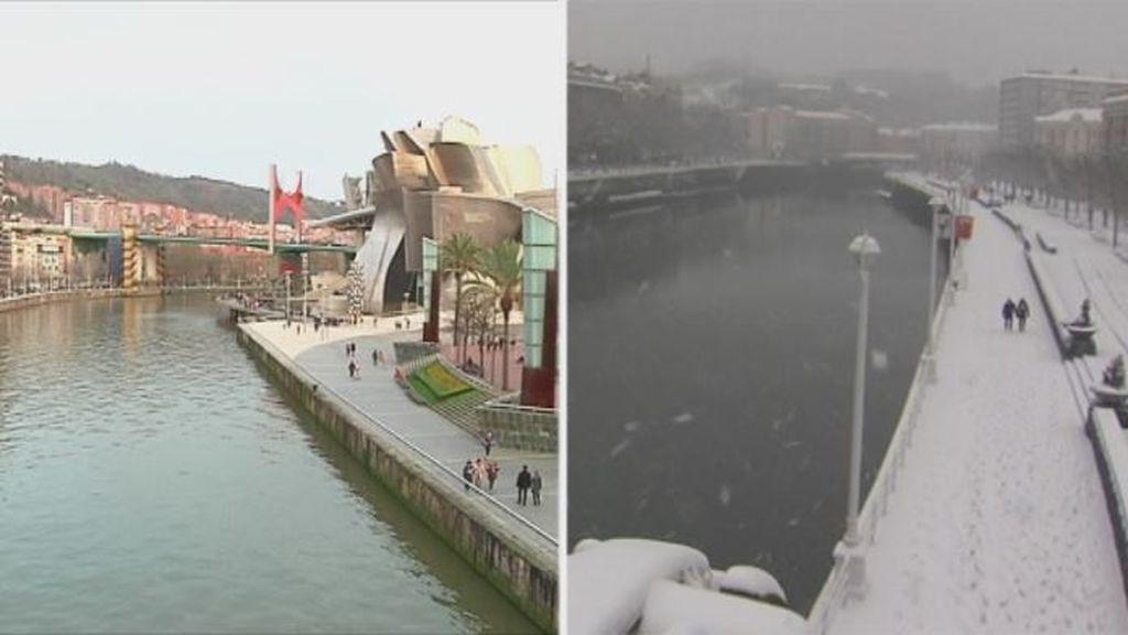 Hace dos años Bilbao sufre una nevada histórica: este viernes, sol y 20 grados