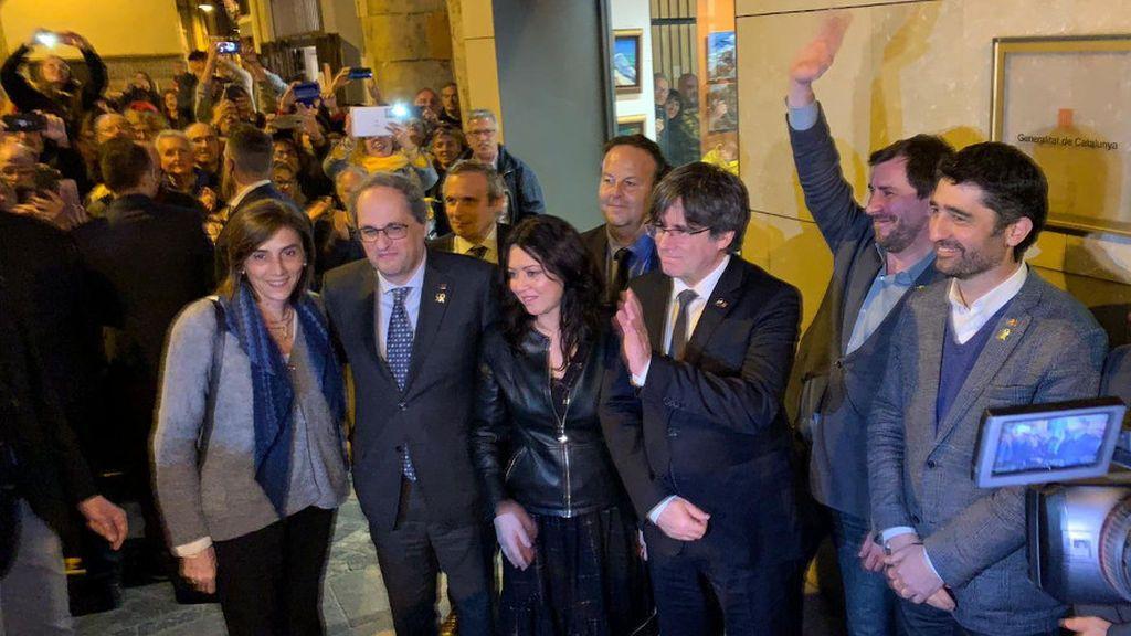 Puigdemont cierra su visita a Perpignan desde la sede de la Generalitat