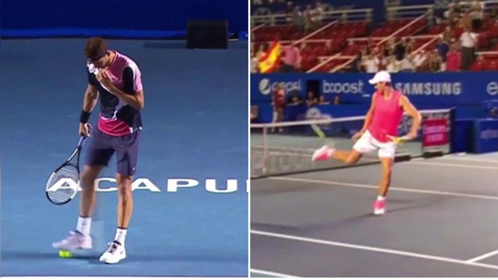 Rafa Nadal y Dimitrov muestran su calidad con los piel: trucos con la pelota de tenis en pleno partido