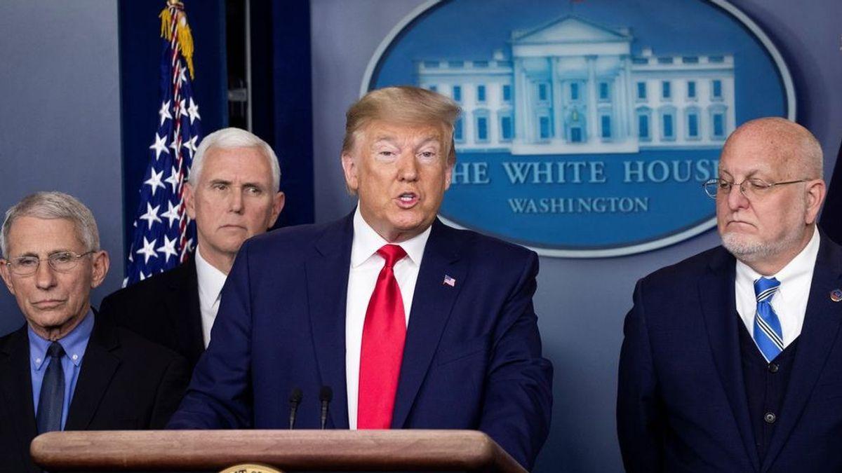 Donald Trump en la rueda de prensa por la primera muerte por coronavirus
