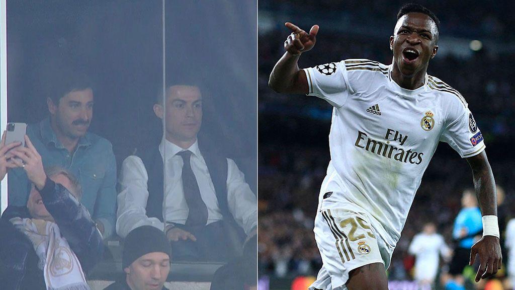 El madridismo de Cristiano Ronaldo celebrando el gol de Vinicius en el Clásico en el palco del Bernabéu: brazos al aire y aplausos
