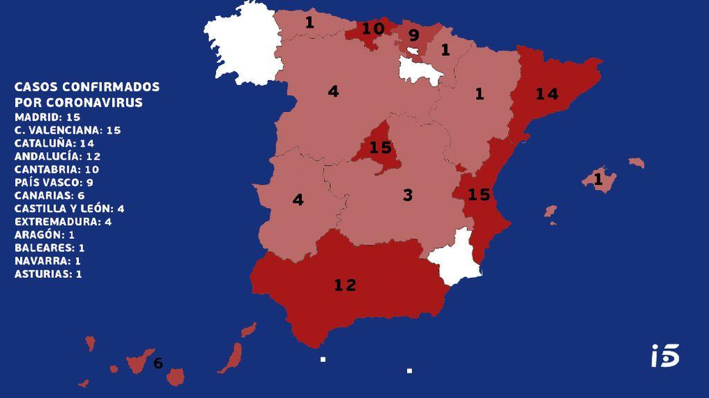 Mapa del coronavirus en España