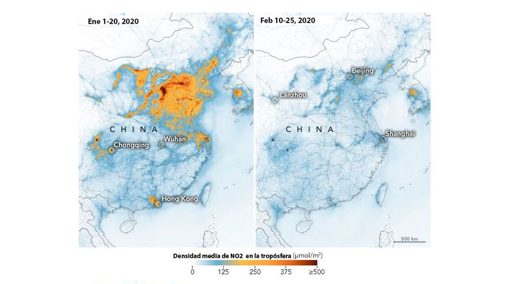 La contaminación por dióxido de nitrógeno desciende en China por el coronavirus