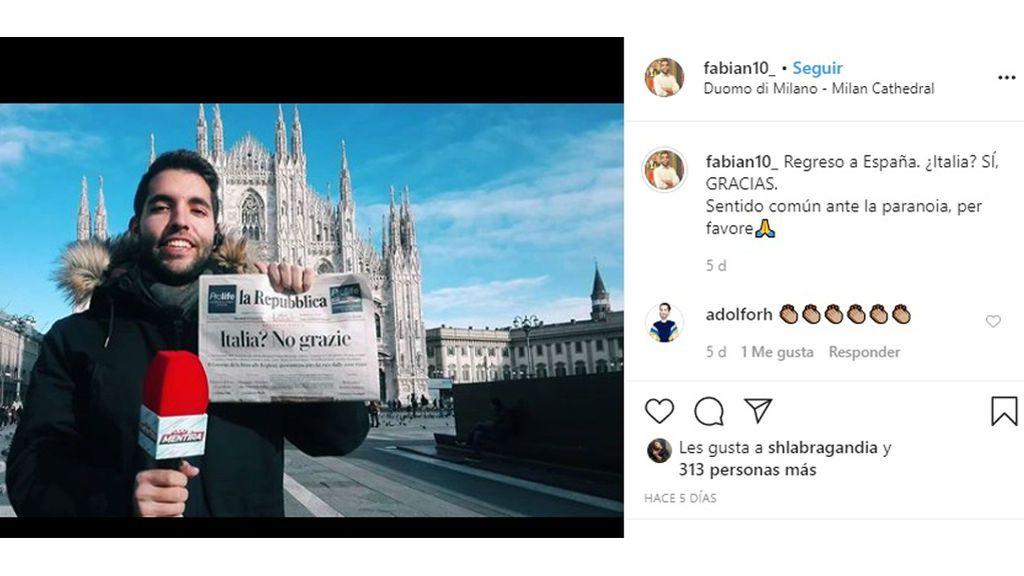 Fabián desde Italia cuando informaba en directo sobre el coronavirus
