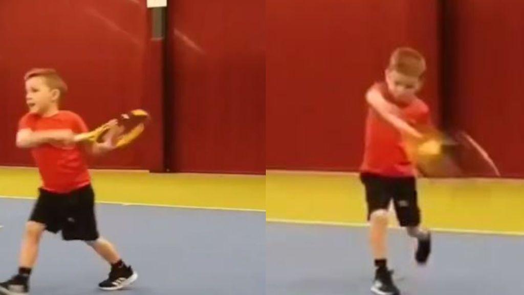 Ethan, el niño progidio del tenis: con seis años marca un revés con una mano al estilo Federer