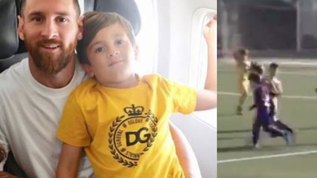 Thiago, el hijo de Messi, ya marca con el 10 en la espalda en las categorías inferiores del Barça