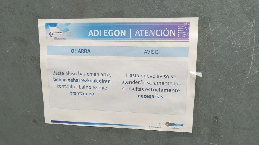 Aviso del Centro de Salud de Olarizu