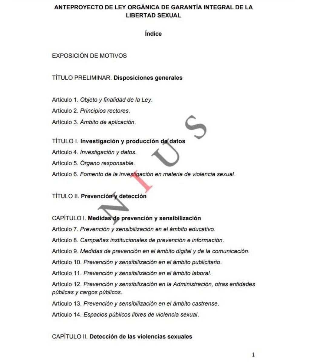 Anteproyecto de ley orgánica de garantía integral de la Libertad Sexual