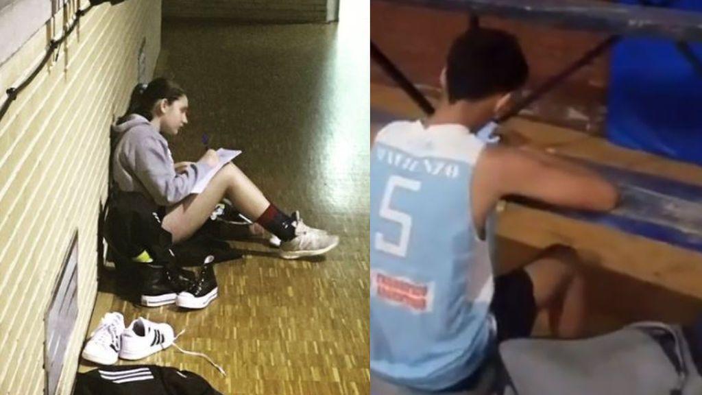 Los estudios antes que el deporte: una jugadora de baloncesto aprovecha a hacer los deberes antes del entrenamiento