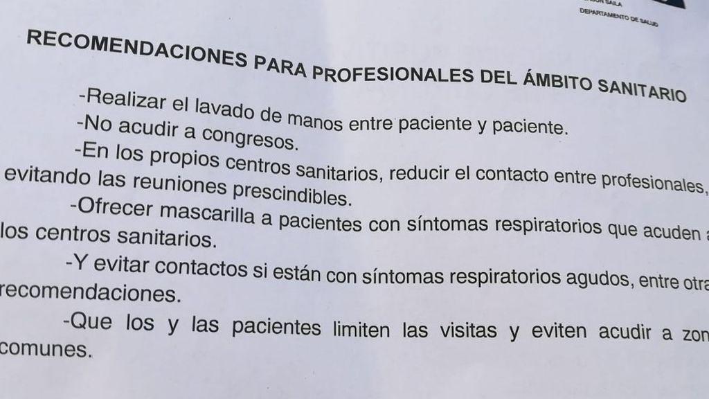 Recomendaciones para profesionales sanitarios en Euskadi