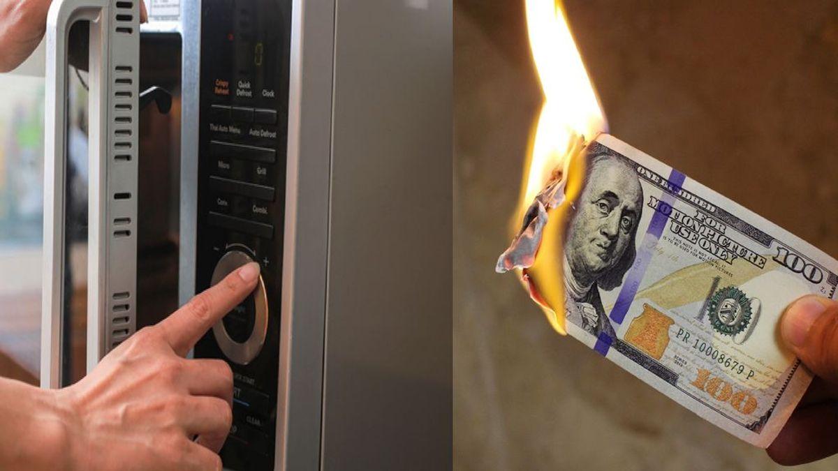 """Una mujer quema 450 dólares en un microondas tras intentar """"desinfectarlos"""" por miedo al coronavirus"""