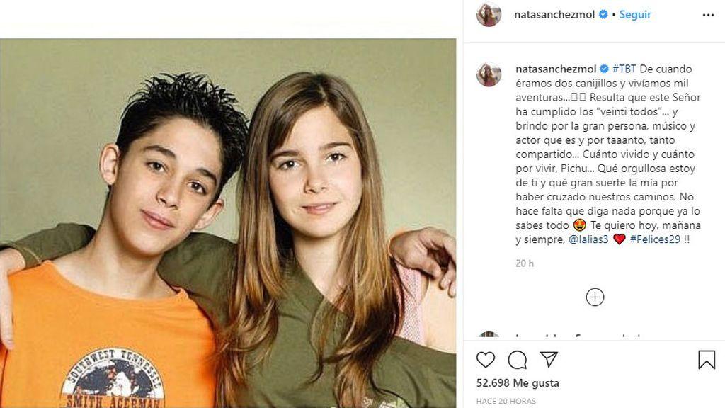 Natalia Sánchez felicita a Víctor Elías con una foto de 'Los Serrano'