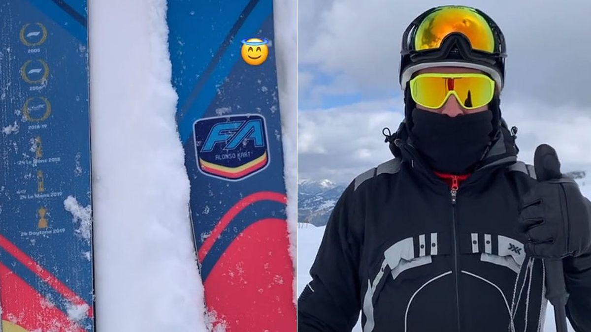 Fernando Alonso se da un homenaje y se hace unos esquís personalizados con sus seis títulos mundiales