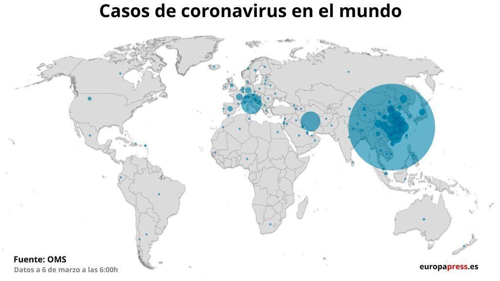 El mapa del coronavirus crece cada vez mas rápido, ya son 100 los países afectados según confirma la OMS