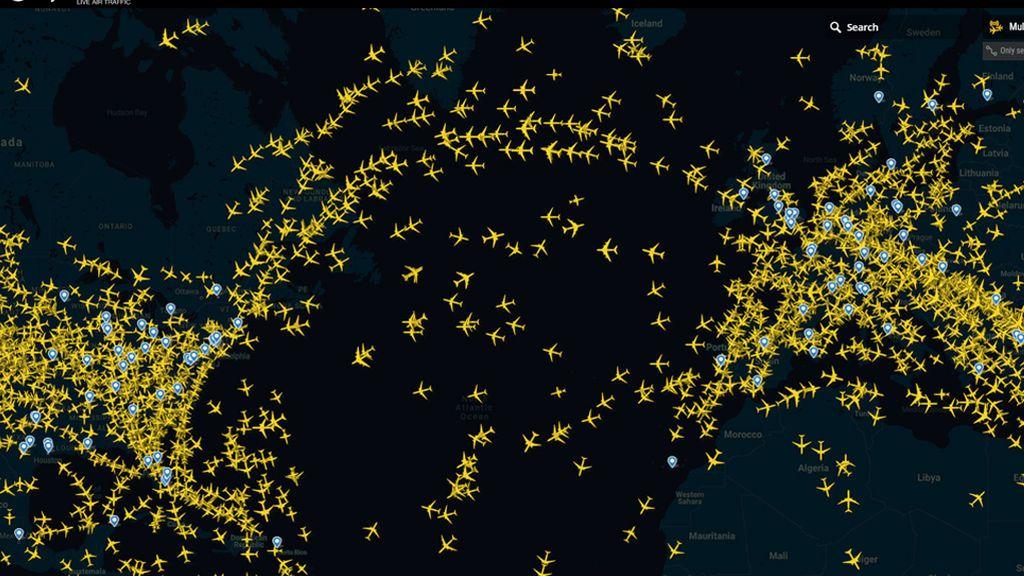 Espacio aéreo del Atlántico Norte a las 16.36 de un día cualquiera