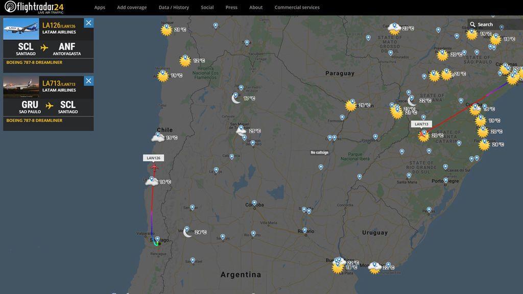 Aviones a más altura en América del Sur