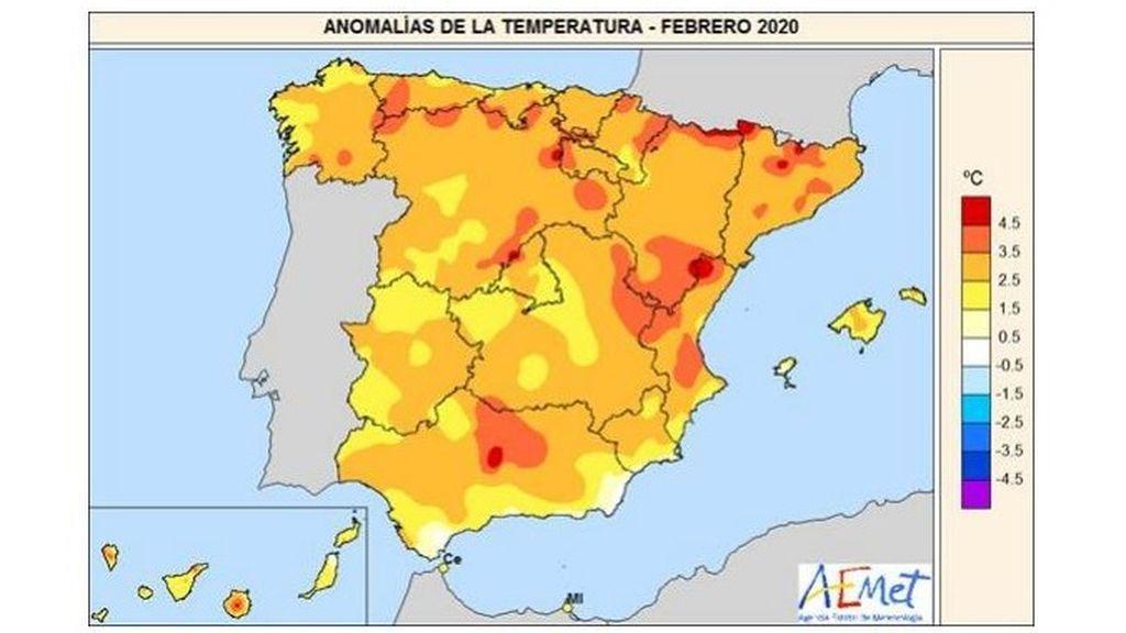 anomalia de la temperatura febrero