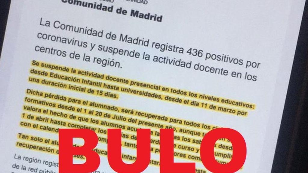 Bulo sobre el coronavirus en la Comunidad de Madrid