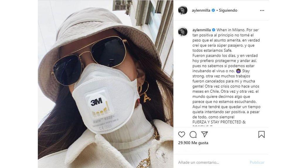 Aylen Milla en Italia con mascarilla