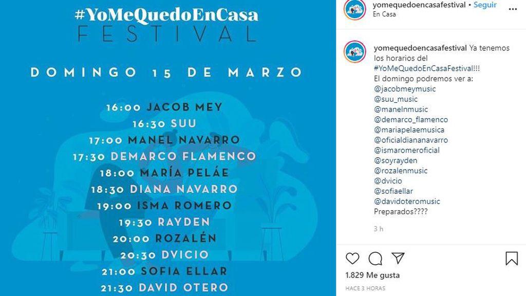 Cartel del #YoMeQuedoEnCasaFestival del domingo