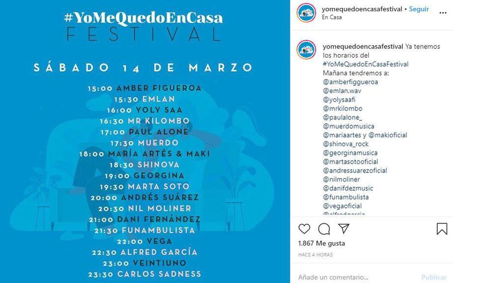 Cartel #YoMeQuedoEnCasaFestival sábado