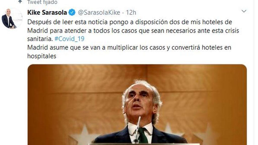 Afectados coronavirus: Sarasola ofrece 2 hoteles en Madrid para ayudar en esta crisis sanitaria