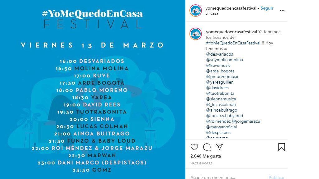 Cartel #YoMeQuedoEnCasaFestival del viernes