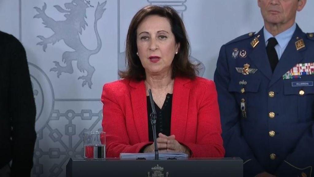 Margarita Robles, ministra de Defensa, en la comparecencia