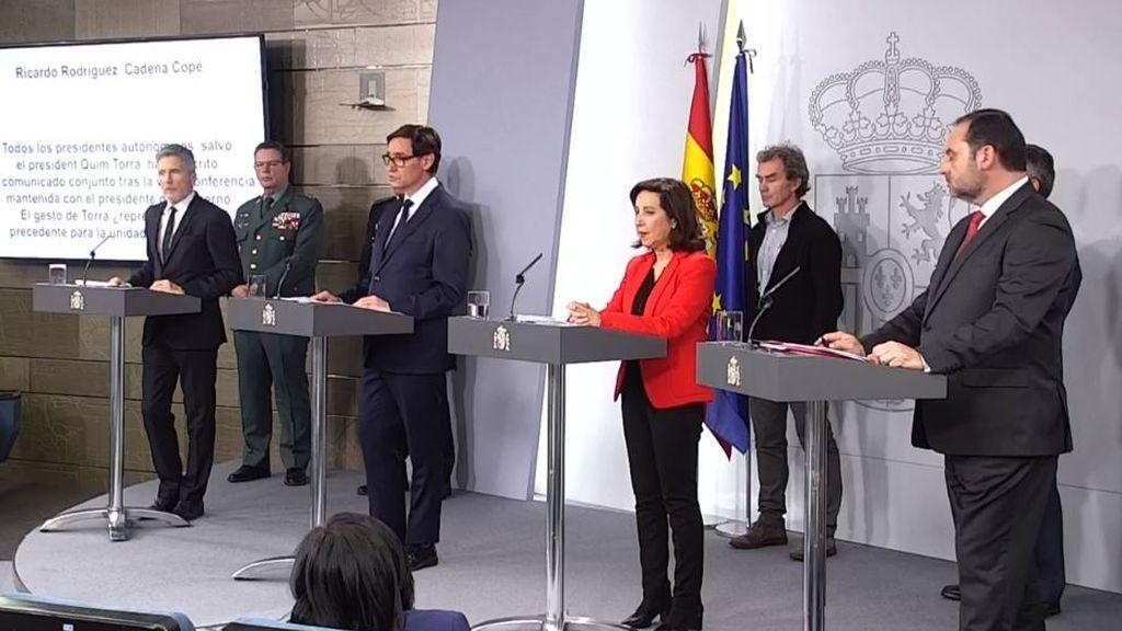El ministro del Interior, Sanidad, la ministra de Defensa y el ministro de Transporte