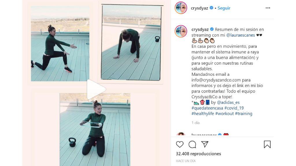 La influencer deportiva Crys Díaz ha compartido su entrenamiento virtual con Laura Escanes.