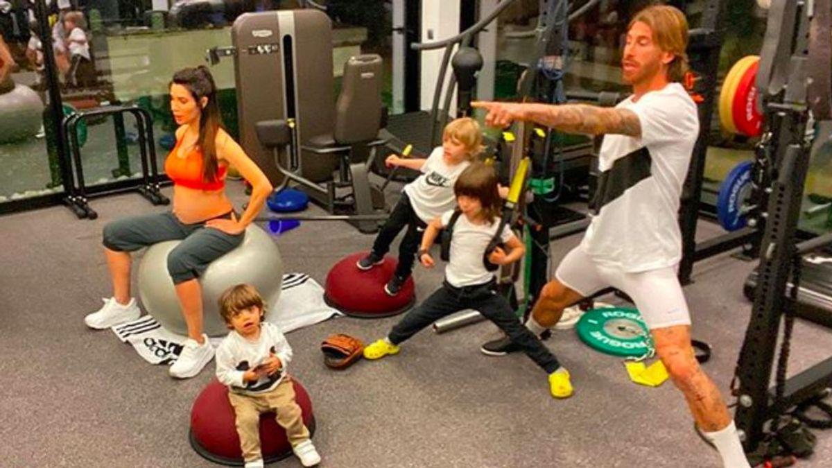 El entrenamiento en familia de Sergio Ramos y Pilar Rubio al ritmo de baby shark