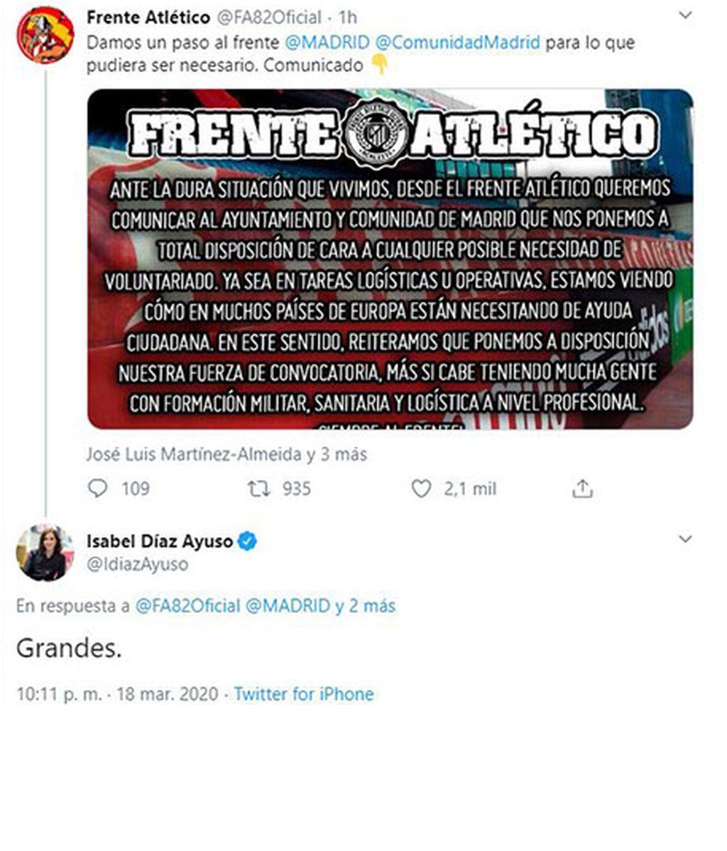 Ayuso agradece el ofrecimiento de Frente Atlético frente al coronavirus