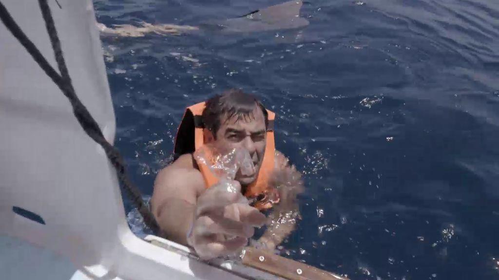 Pablo Chiapella le quita un plástico de la boca a un tiburón ballena