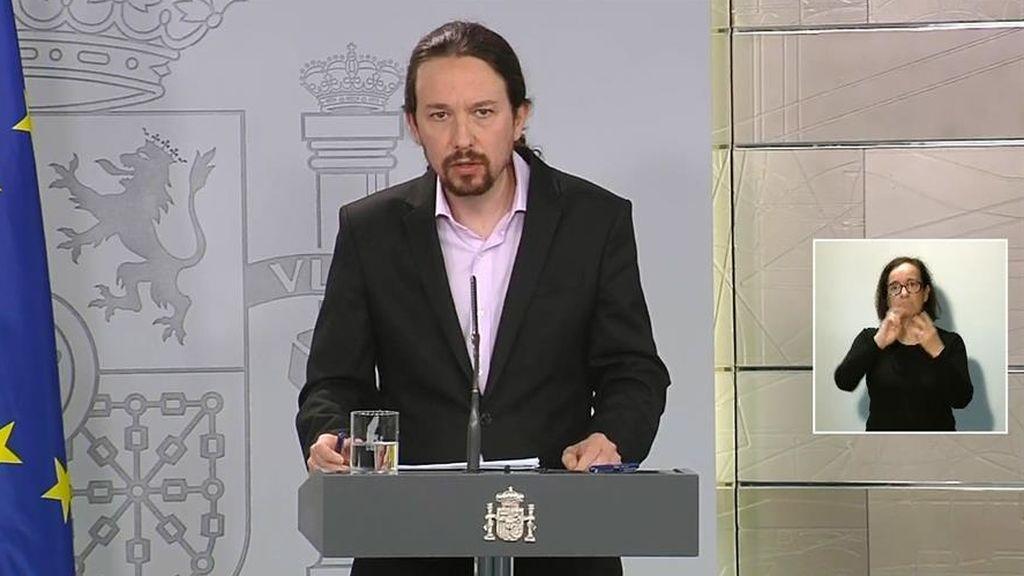 """Iglesias sobre las caceroladas contra la monarquía: """"Este Gobierno va a defender la libertad de expresión"""""""