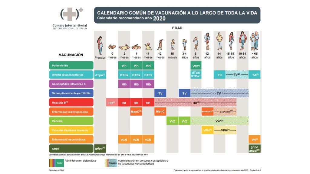 Calendario común de vacunación para toda la vida del CISNS 2020.