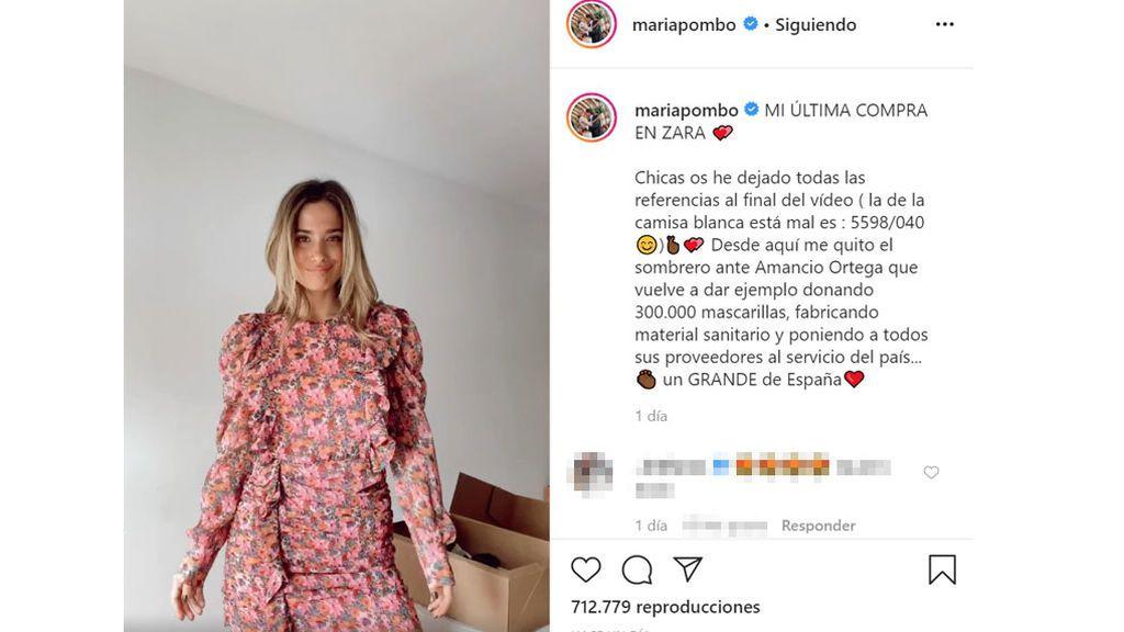 María Pombo muestra las prendas que ha comprado online