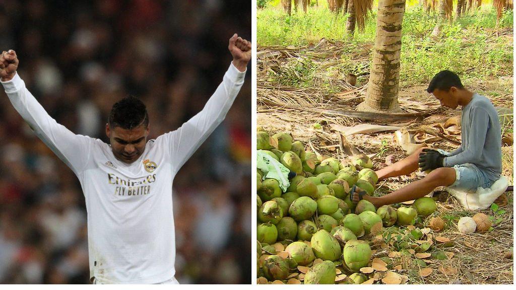 """El regalo de Casemiro a Gleisson, el niño que corre 12 kilómetros y pela cocos para poder entrenar: """"Pelea por tu sueño"""""""
