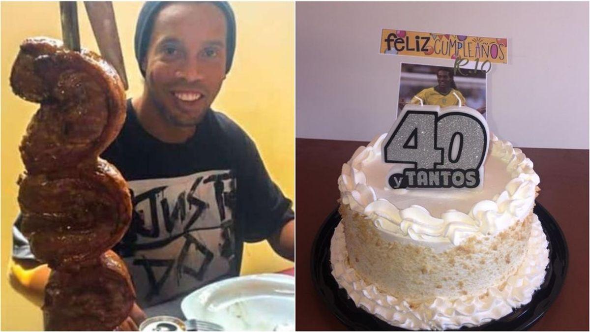 La cena de cumpleaños de Ronaldinho en la carcel: asado y tarta con velas