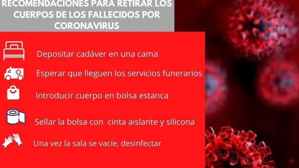 RECOMENDACIONES PARA RETIRAR LOS CUERPOS DE LOS FALLECIDOS