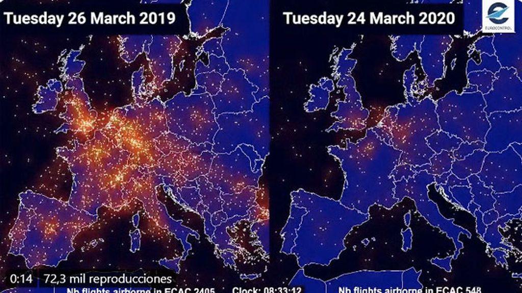 El tráfico aéreo antes y después del coronavirus