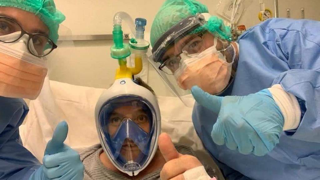 Máscara de snorkel convertida en respirador
