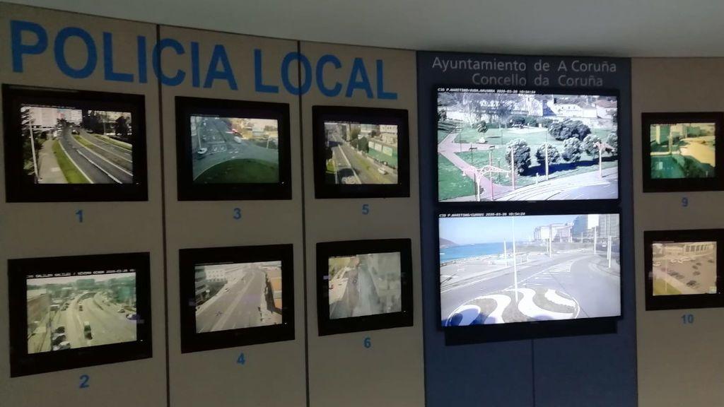 Sala de pantallas de la Policía Local