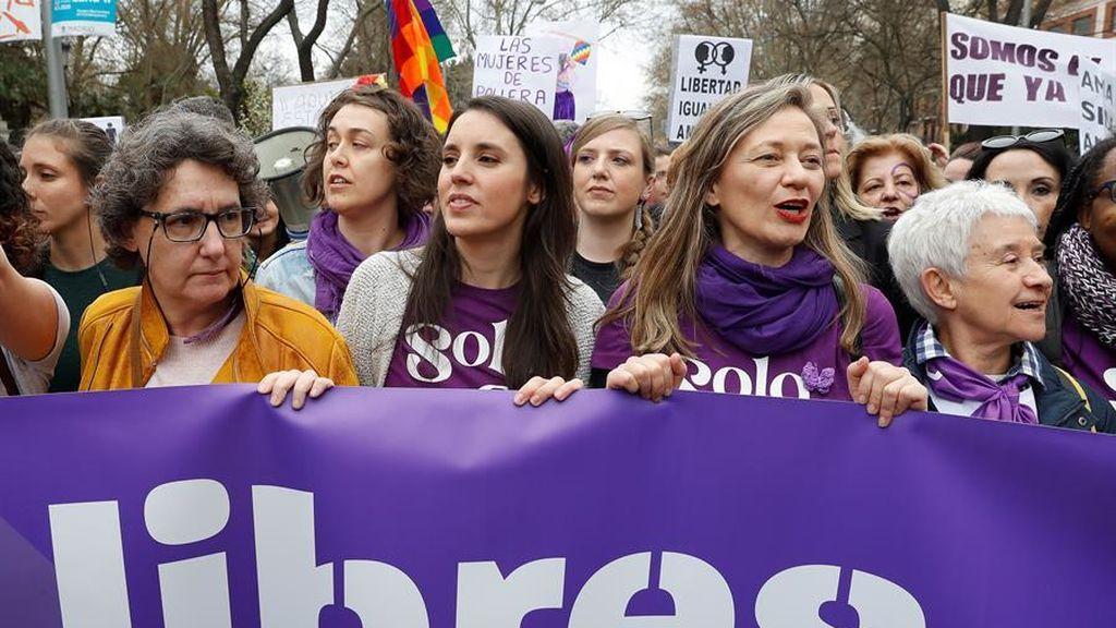 La ministra de Igualdad, Irene Montero, en la manifestación del 8M