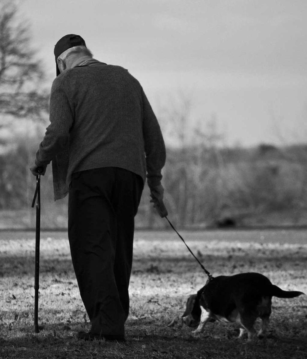 Anciano pasea a su perro
