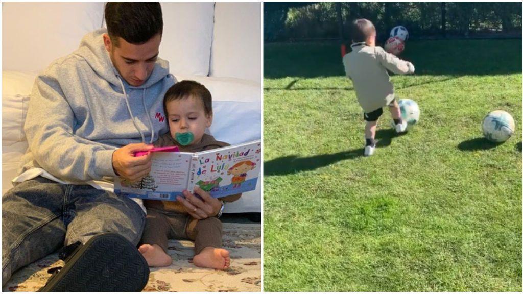 """El hijo de Lucas Vázque afina la puntería en el jardín de su casa: """"A ver cuántos metes"""""""